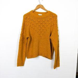 Abound Textured Crew Neck Sweater Gold Yellow